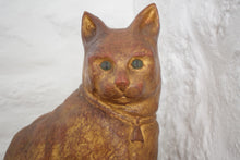 Load image into Gallery viewer, Antique Hand Painted Large Carved Wooden Cat