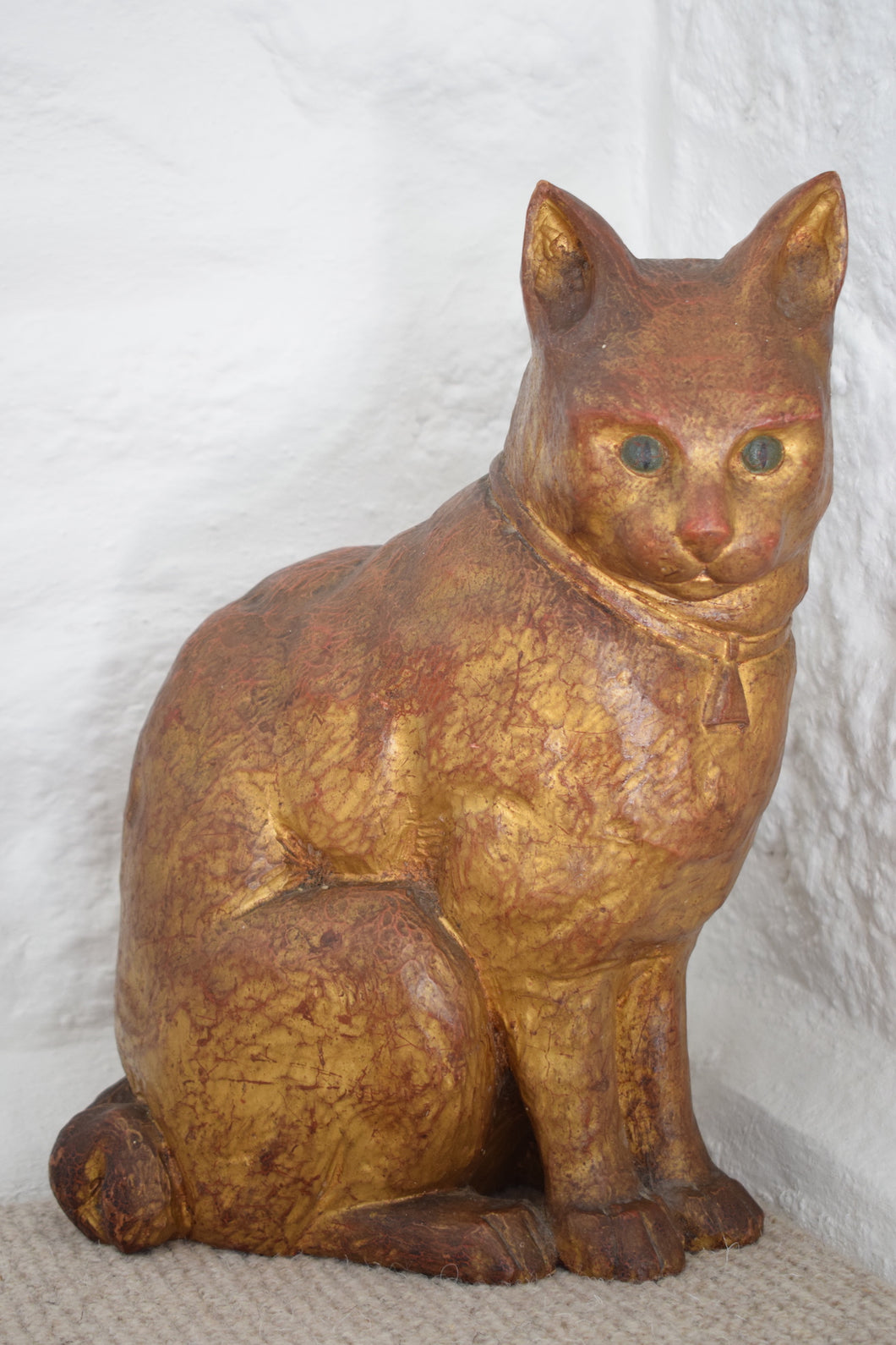 Antique Hand Painted Large Carved Wooden Cat