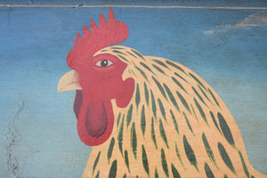 Vintage Oil on Panel Light Sussex Hen