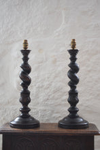 Load image into Gallery viewer, Oak Barley Twist Table Lamps