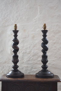 Oak Barley Twist Table Lamps