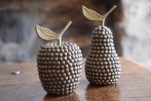 Vintage Brass Studded Apple & Pair Faux Fruit Display