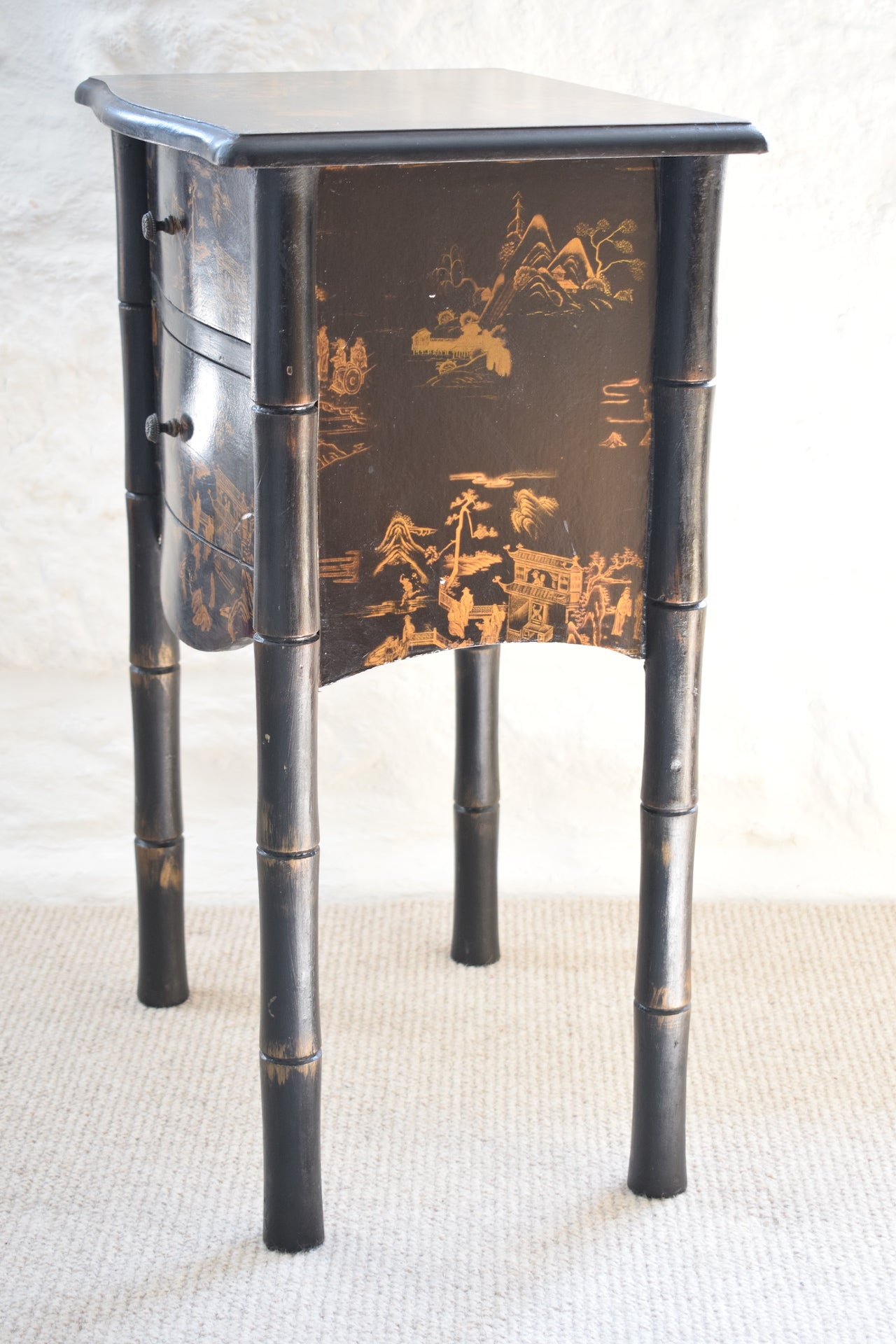 Vintage Japanese Black Faux Bamboo Nightstand From Grumbla