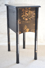 Load image into Gallery viewer, Vintage Japanese Black Faux Bamboo Nightstand