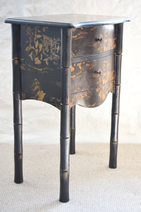 Vintage Japanese Black Faux Bamboo Nightstand