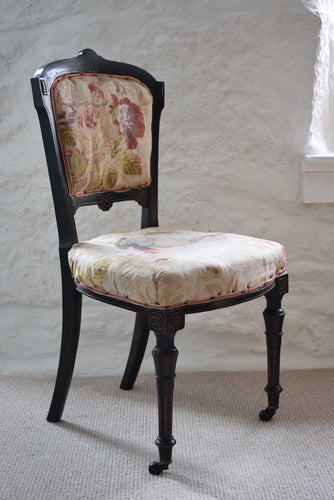 Antique 19th Century Ebonised Bedroom Chair