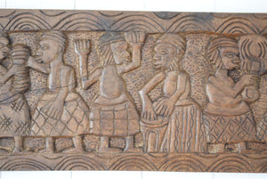 Antique African Tribal Art Hand Carved Hardwood Panel