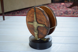 Vintage Wooden Sea Fishing Reel Mounted on Wooden Base