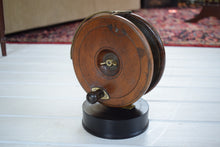 Load image into Gallery viewer, Vintage Wooden Sea Fishing Reel Mounted on Wooden Base