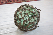 Load image into Gallery viewer, Large Antique Glass Fishing Float Buoy With Netting