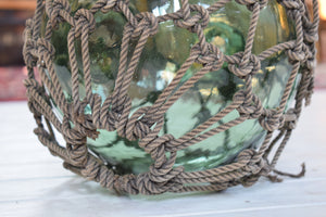 Large Antique Glass Fishing Float Buoy With Netting