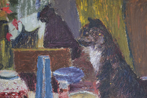 Cat Overlooking a Laid Table Oil on Canvas