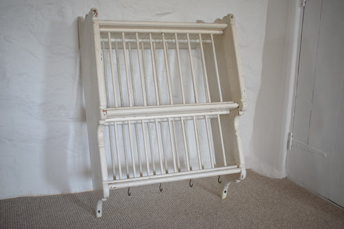Antique White Painted Pine Plate Rack