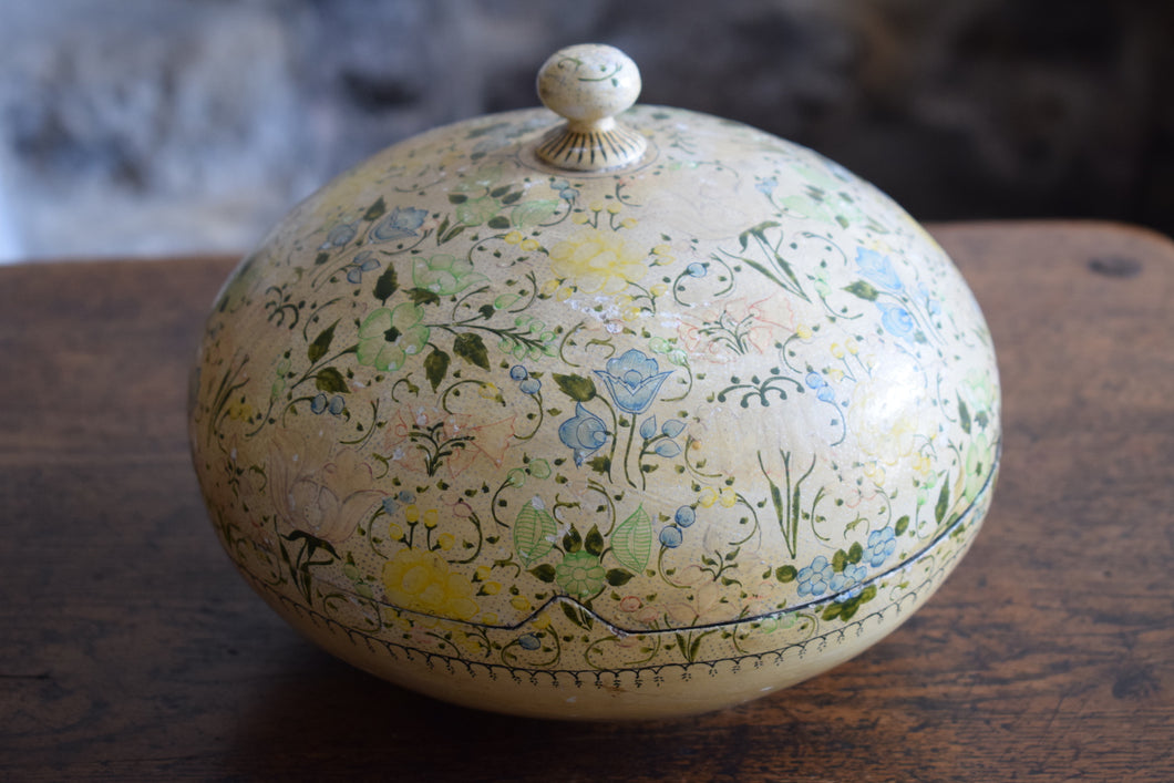 Antique Large Kashmiri Papier Mache Floral Lidded Pot