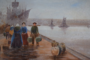 Oil on Board Quayside Scene