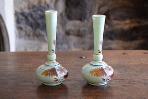 Pair of Antique Victorian Opaline Uranium Glass Vases
