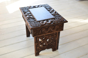 Antique Chinese Carved Wooden Folding Stool