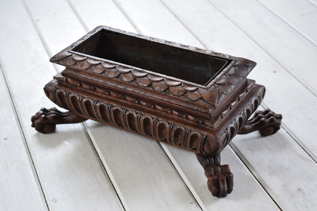 Antique Carved Small Wooden Planter on Ball and Claw Feet
