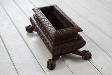 Load image into Gallery viewer, Antique Carved Small Wooden Planter on Ball and Claw Feet