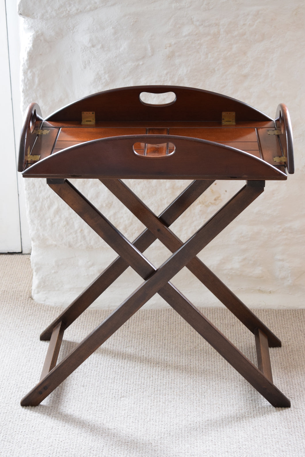 Antique Mahogany Folding Butlers Tray