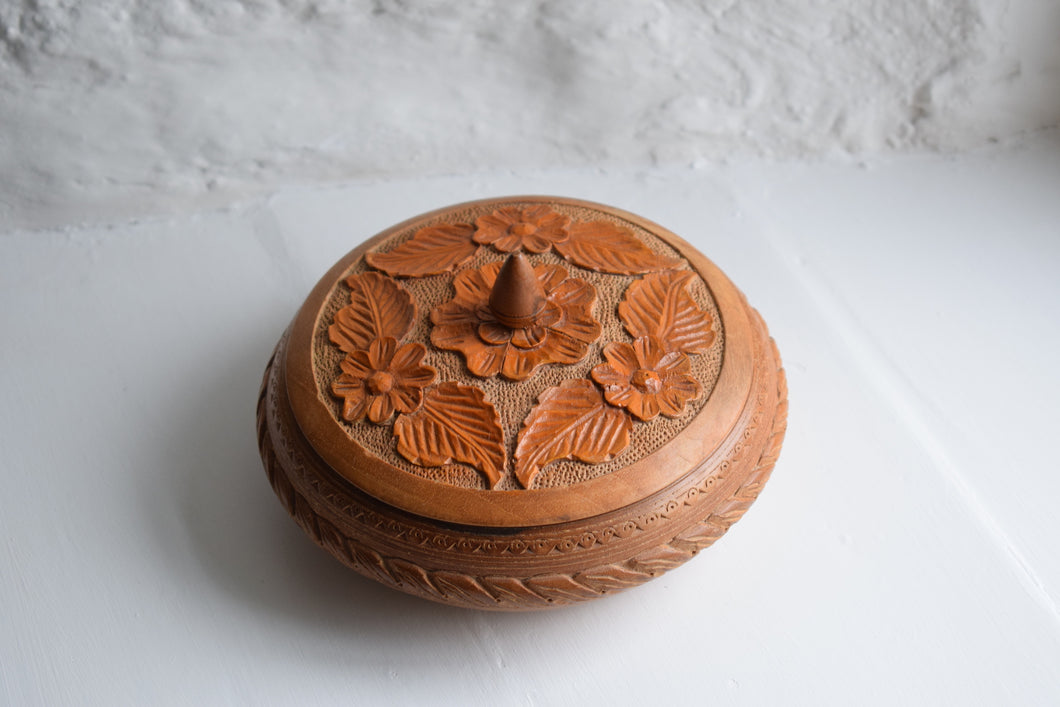 Vintage Hand Carved Wooden Lidded Bowl