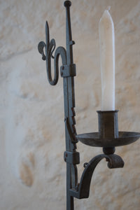 Antique Wrought Iron Adjustable Candlestick