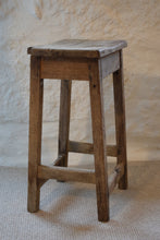 Load image into Gallery viewer, Antique Rustic Pine Workshop Farmhouse Stool
