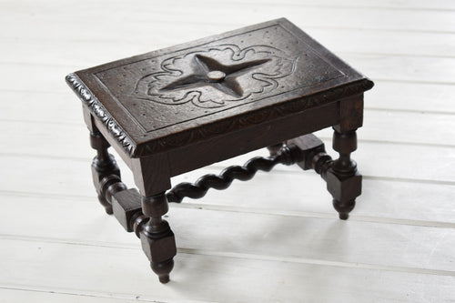 Small Antique English Carved Oak Footstool