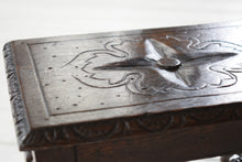 Load image into Gallery viewer, Small Antique English Carved Oak Footstool