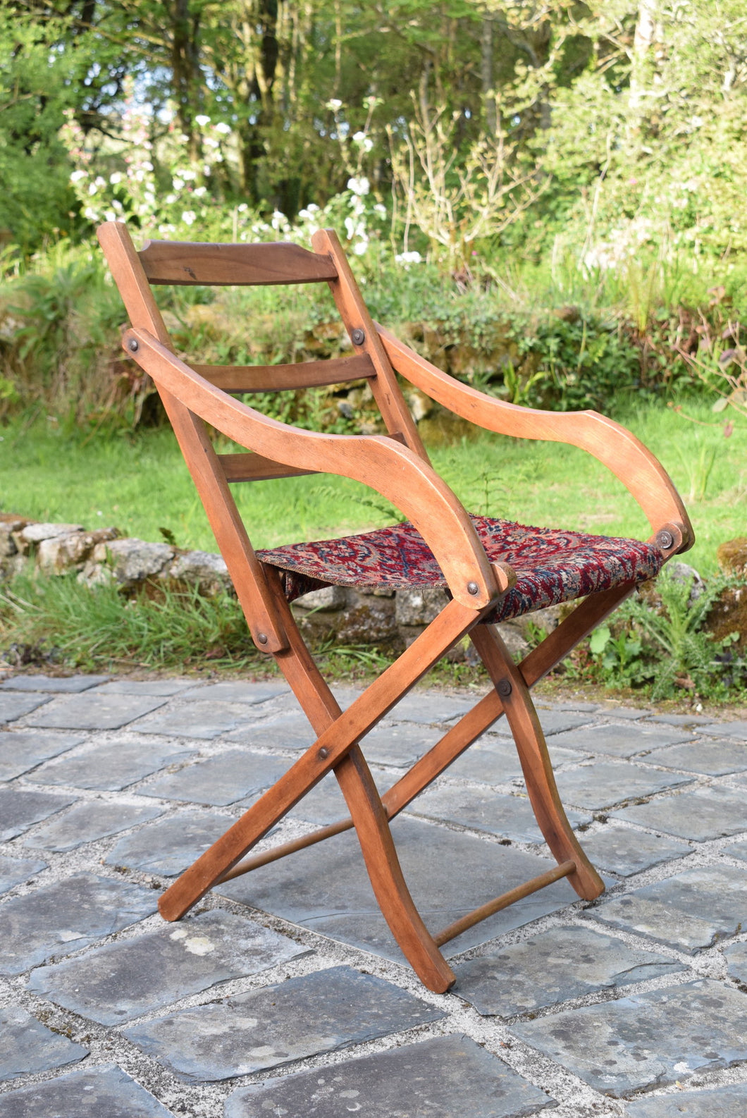Victorian Carpet Upholstered Folding Deckchair Oetzmann and Co