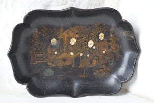 Chinoiserie Black Lacquer Pin Tray
