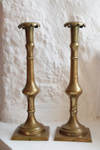 Load image into Gallery viewer, Georgian Brass Candlesticks