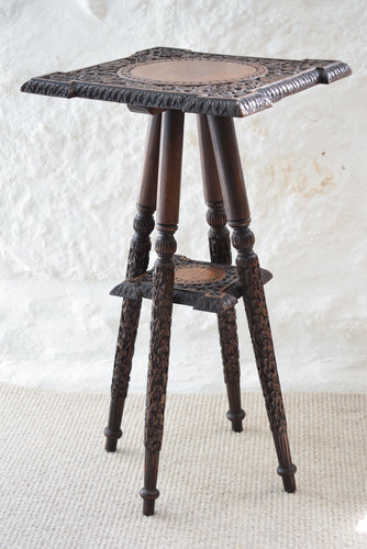 Antique Indian Carved Wooden Side Table c1890