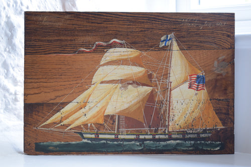 Antique Oil on Board American Tall Ship 1841