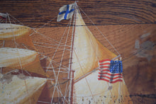 Load image into Gallery viewer, Antique Oil on Board American Tall Ship 1841