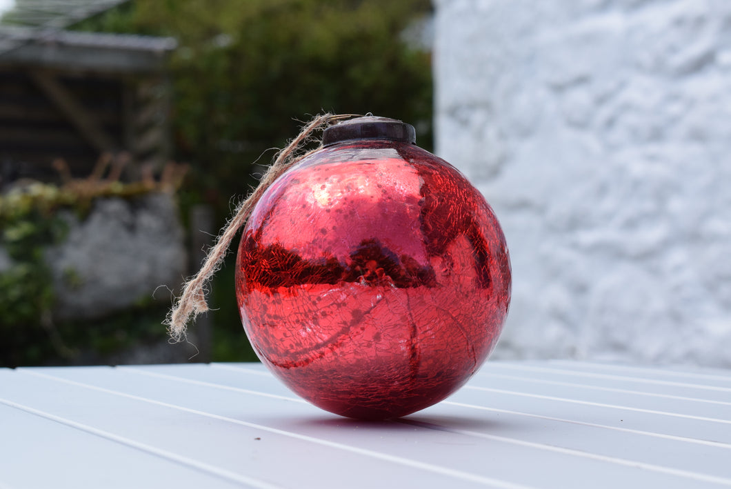Antique Red Mercury Glass Witches Ball