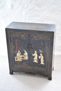 Chinese Black Lacquer Cabinet with Soapstone Decoration