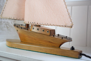 Wooden Sailing Boat Table Lamp