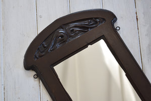 Antique Art Nouveau Mahogany Mirror With Carved Face