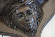 Load image into Gallery viewer, Antique Art Nouveau Mahogany Mirror With Carved Face