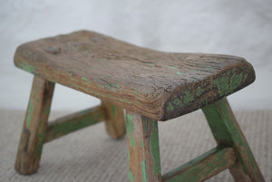 Small antique Milking Stool in Original Green Paint