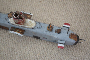 Vintage Scratch Built Handmade Naive Wooden Submarine Model