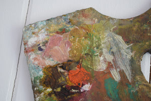 Antique Wooden Artists Pallet with Oil Paint