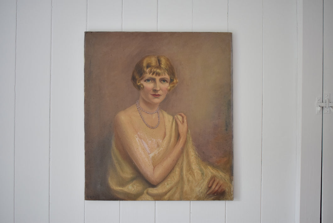Oil Portrait 1920s Flapper Girl