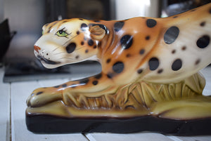 Art Deco Cheetah Ceramic Statue