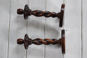 Antique Oak Barley Twist Candlesticks