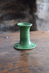 Green Glazed Studio Pottery Candlestick