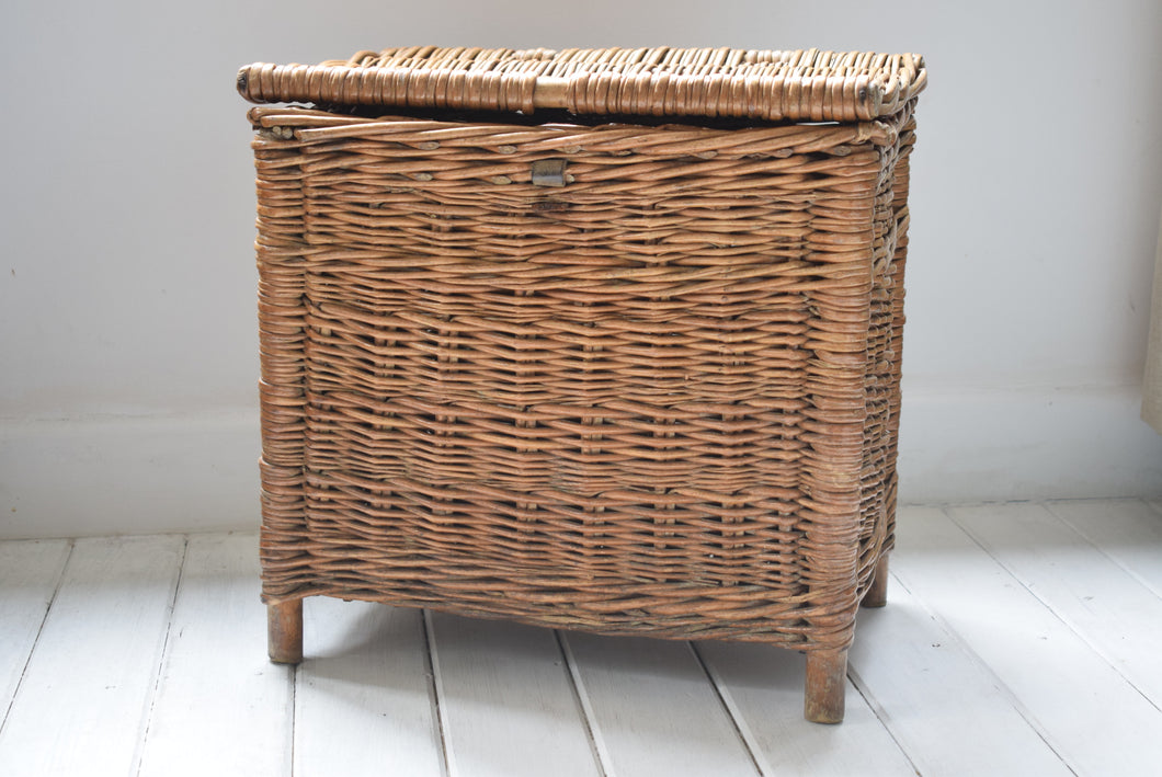Antique Wicker Basket on Legs