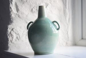 Green Twin Handled Bottle Vase