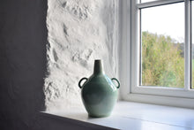 Load image into Gallery viewer, Green Twin Handled Bottle Vase